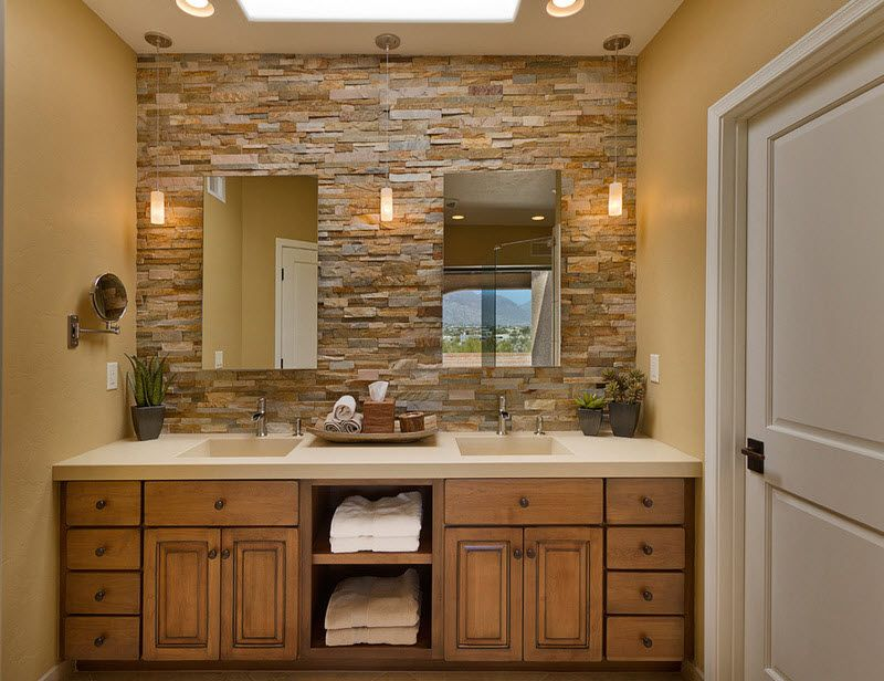 Ordinaire Rock Wall. Mirrors Over Stone. Canned Lights With Sconce Lights. Thick  Counter. Makeup Mirror.