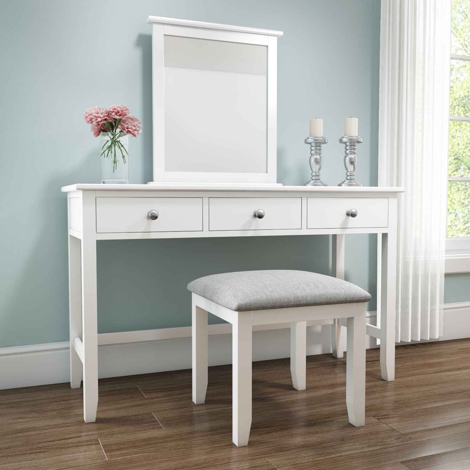 Harper White Solid Wood Dressing Table HRP006B