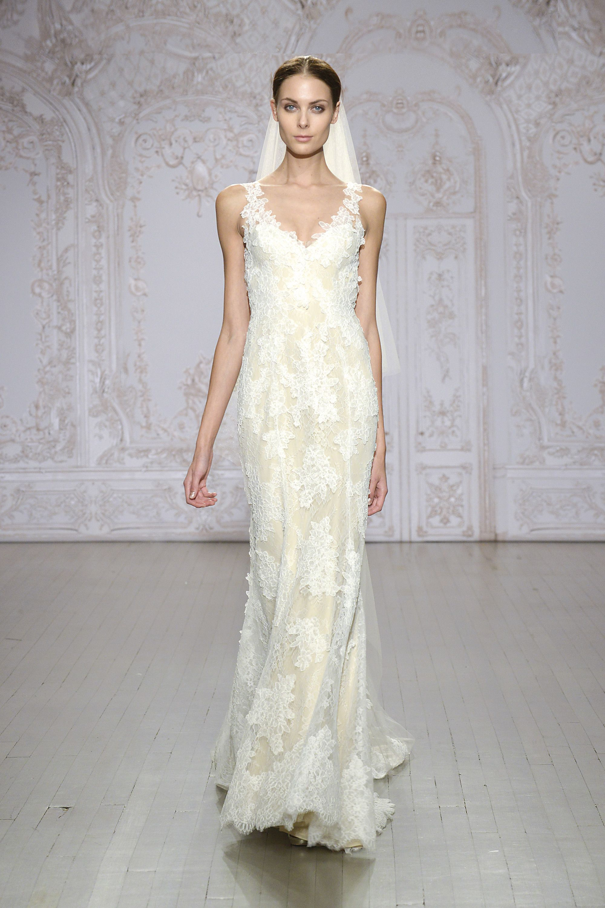 Monique Lhuillier - Silk white/nude Chantilly and re-embroidered ...