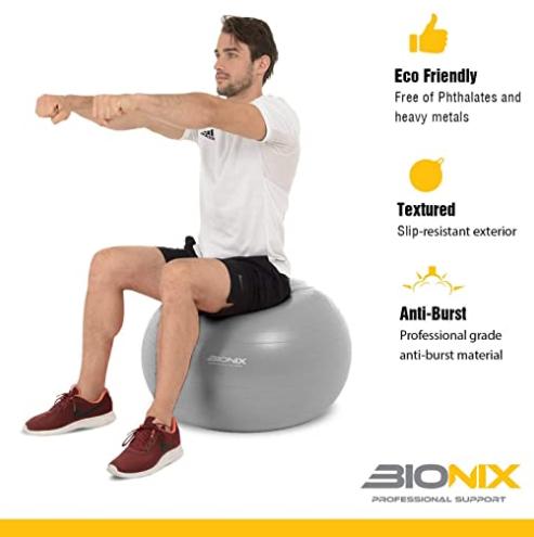 Exercise Ball 75cm - Anti Burst & Anti Slip Large Swiss Ball