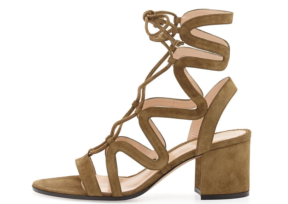 abeb02dee9b8 Gianvito Rossi Lace-Up Block-Heel Suede Gladiator Sandal