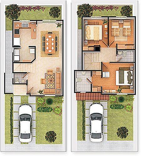 planos de casas 60m2 2 plantas