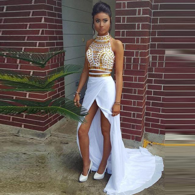 Beaded Sparkly Crystal Top 2 Piece Prom Dresses Sexy Open Leg Long white  and gold prom dresses Party Gowns High Neck Girl Dress 3eddc4aefe86