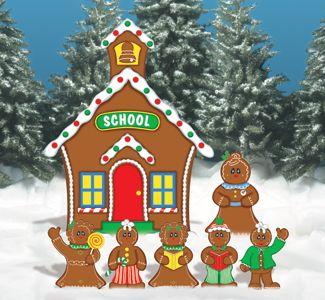 gingerbread school house woodcraft pattern gingerbread decorationschristmas yard - Gingerbread Christmas Yard Decorations