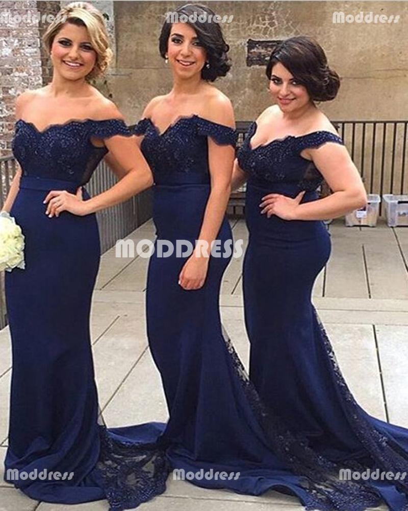 Applique long bridesmaid dresses mermaid evening dresses off the