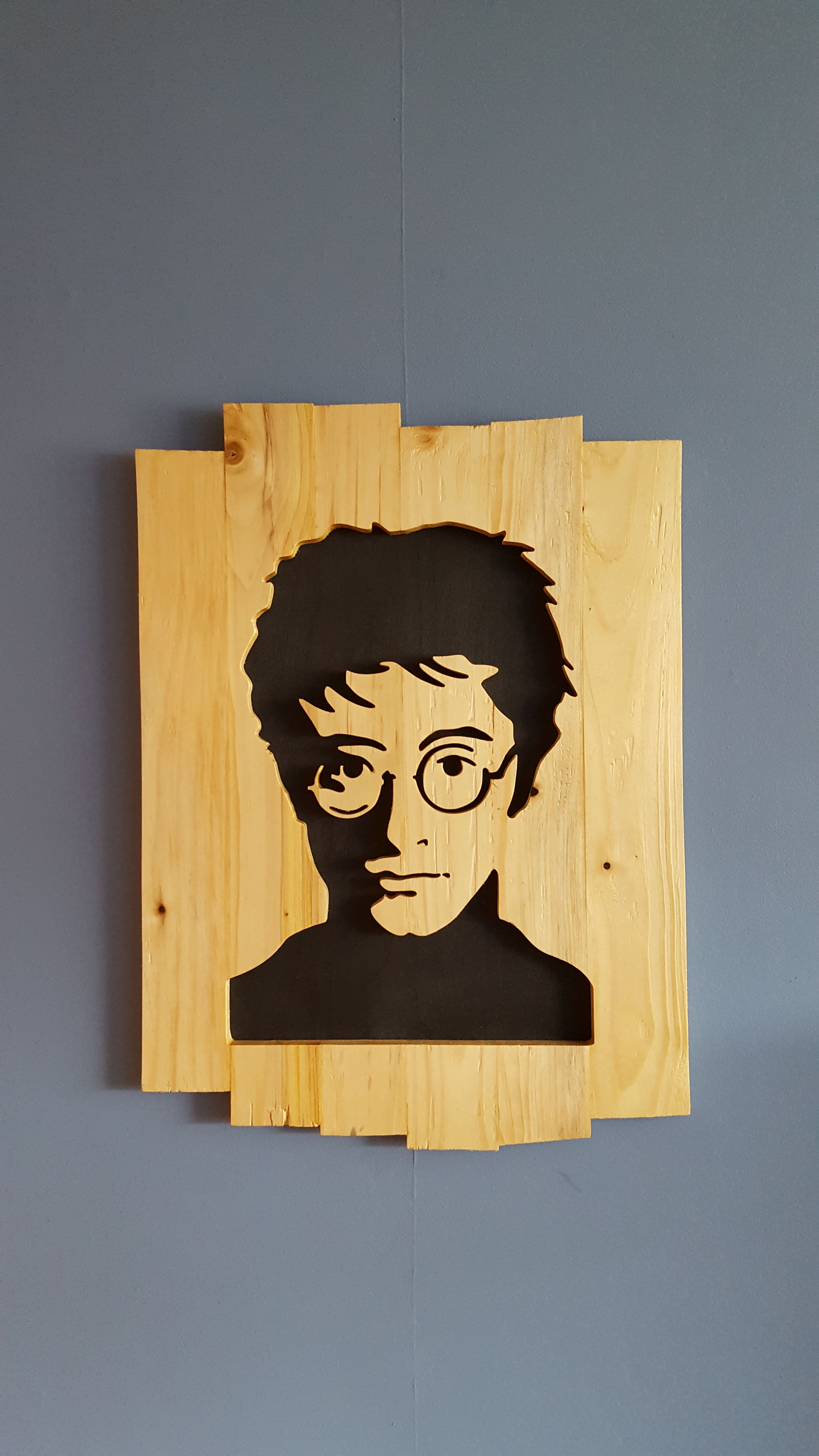 CNC cut wall art of Harry Potter. Made from Pallet Wood. Dimensions ...