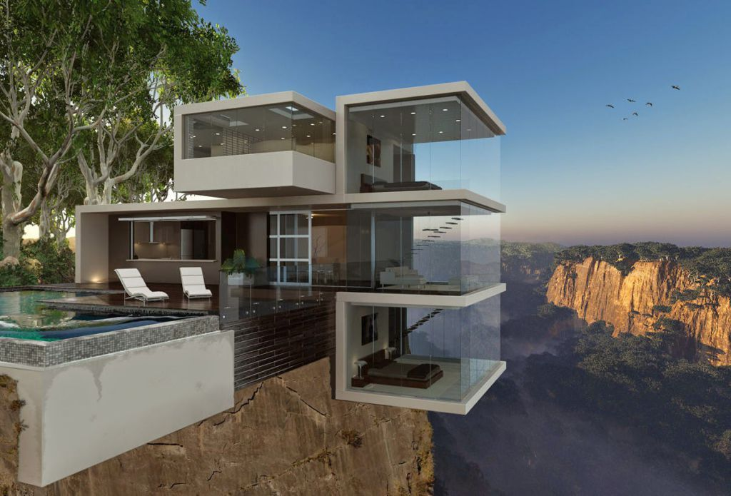 yikes modern home cliff house visualization by