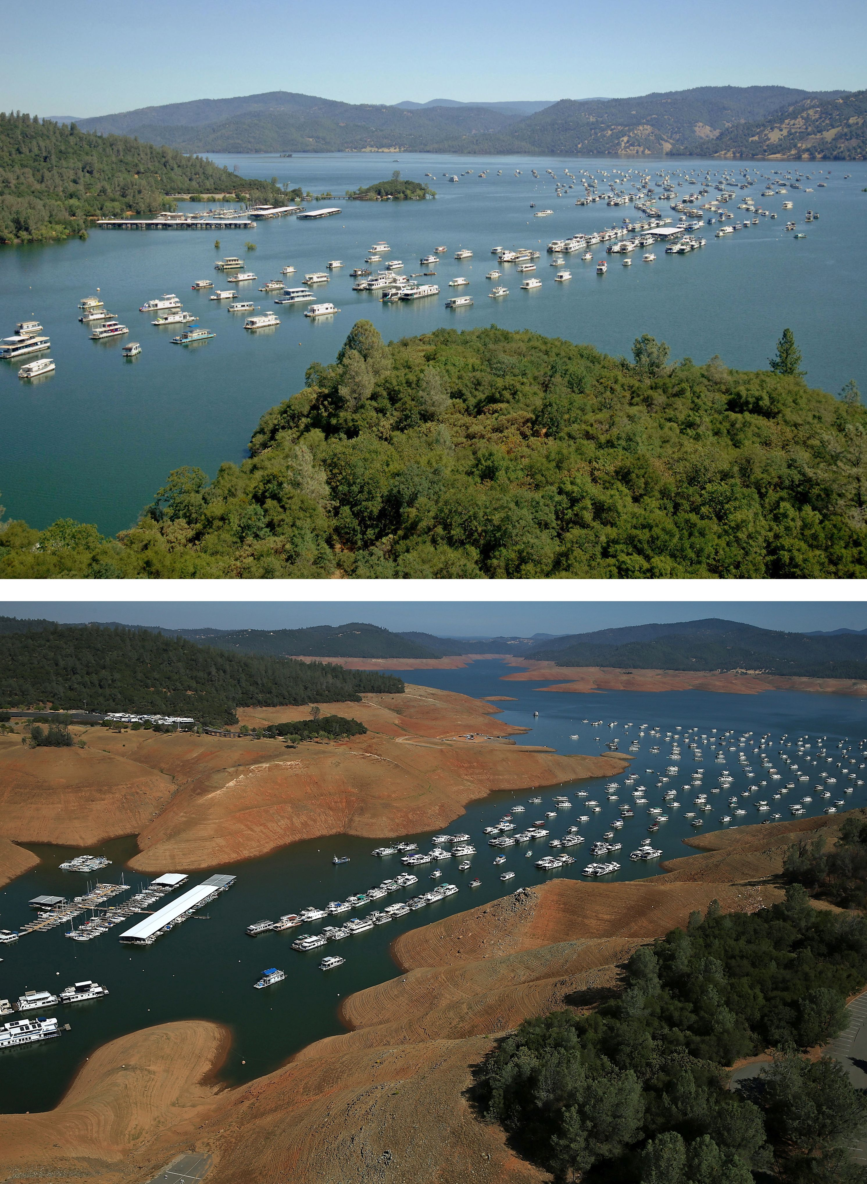 In this before-and-after composite image, (Top) Full water levels