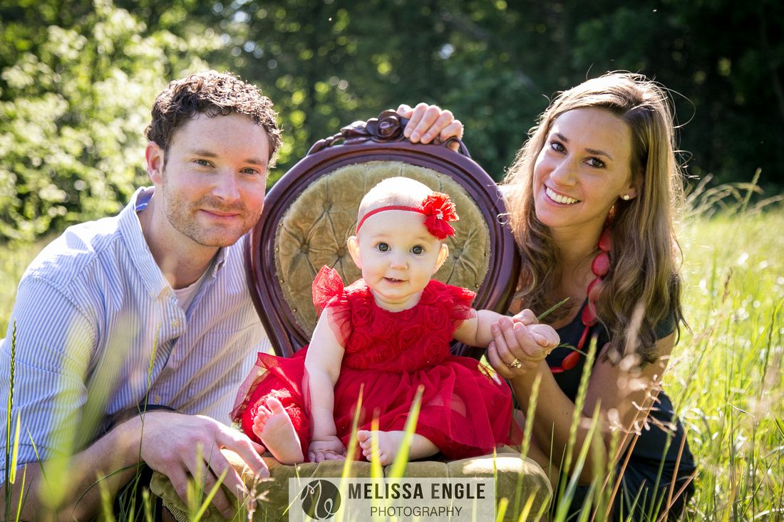 family in a field, baby in a red dress, family photography, family ...