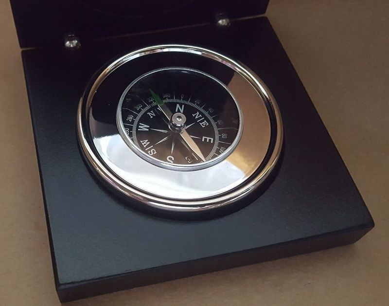 Boxed Compass Silver Chrome Finish Personalised With Engraving