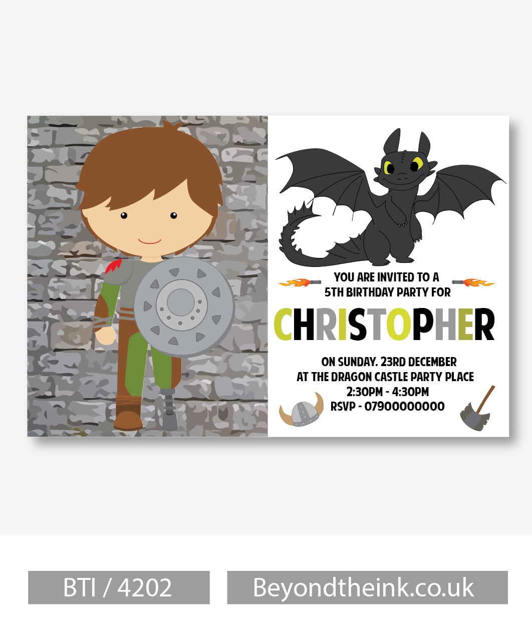 Personalised How To Train Your Dragon Invitations. Printed on ...