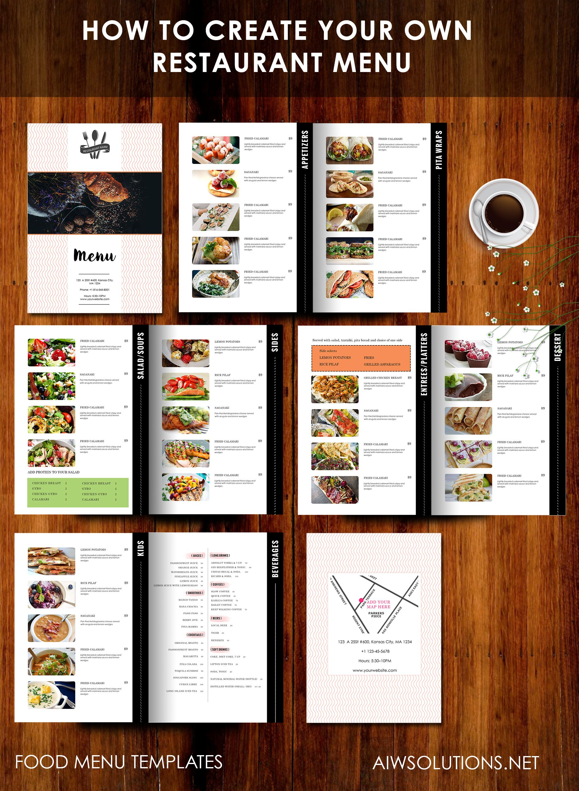 how to create your own restaurant menu drink menu bar menu food