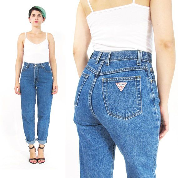 90s guess mom jeans high waist jeans tapered leg jeans