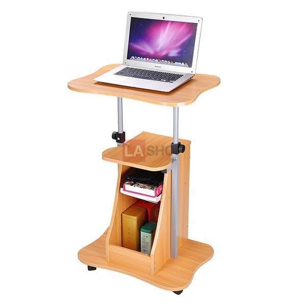 Rolling Laptop Desk Cart Adjustable Height W Storage Color Opt Storage Spaces Storage Desk