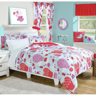 Kids Pink Butterfly Twin Size Quilt Set Girls Animal Polka Dot Heart Shapes
