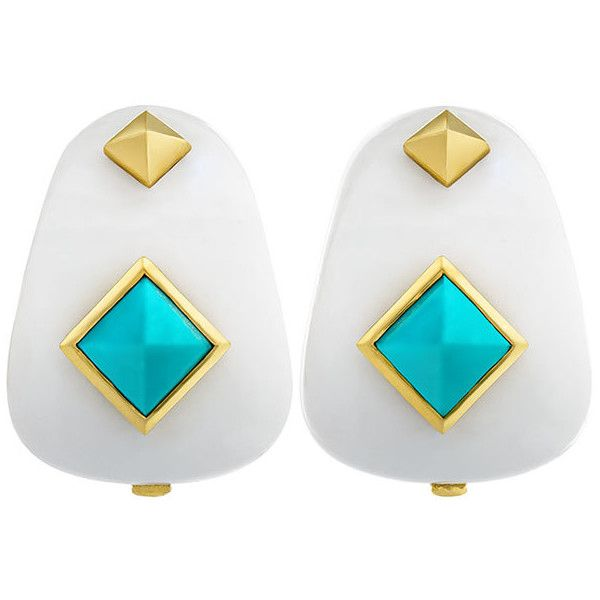 Margot McKinney Jewelry Weekend White Agate Earrings with Turquoise Studs pfpqIw