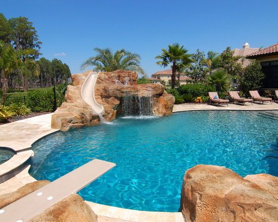 Amazing Mediterranean Pool With Diving Board Slide Waterfal And ...