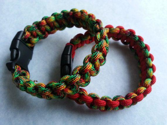 Jamaican Paracord Bracelet Red Hippy By Tyrsparacord Paracordbracelet Rastafarian Bobmarley