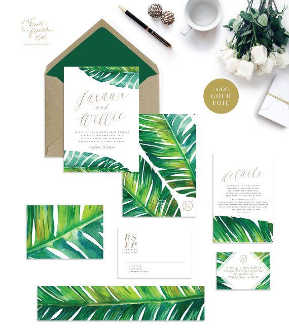 43 Dreamy Watercolor Inspired Wedding Ideas: JARAUX SUITE // Botanical Palm Leaf Wedding Invitation