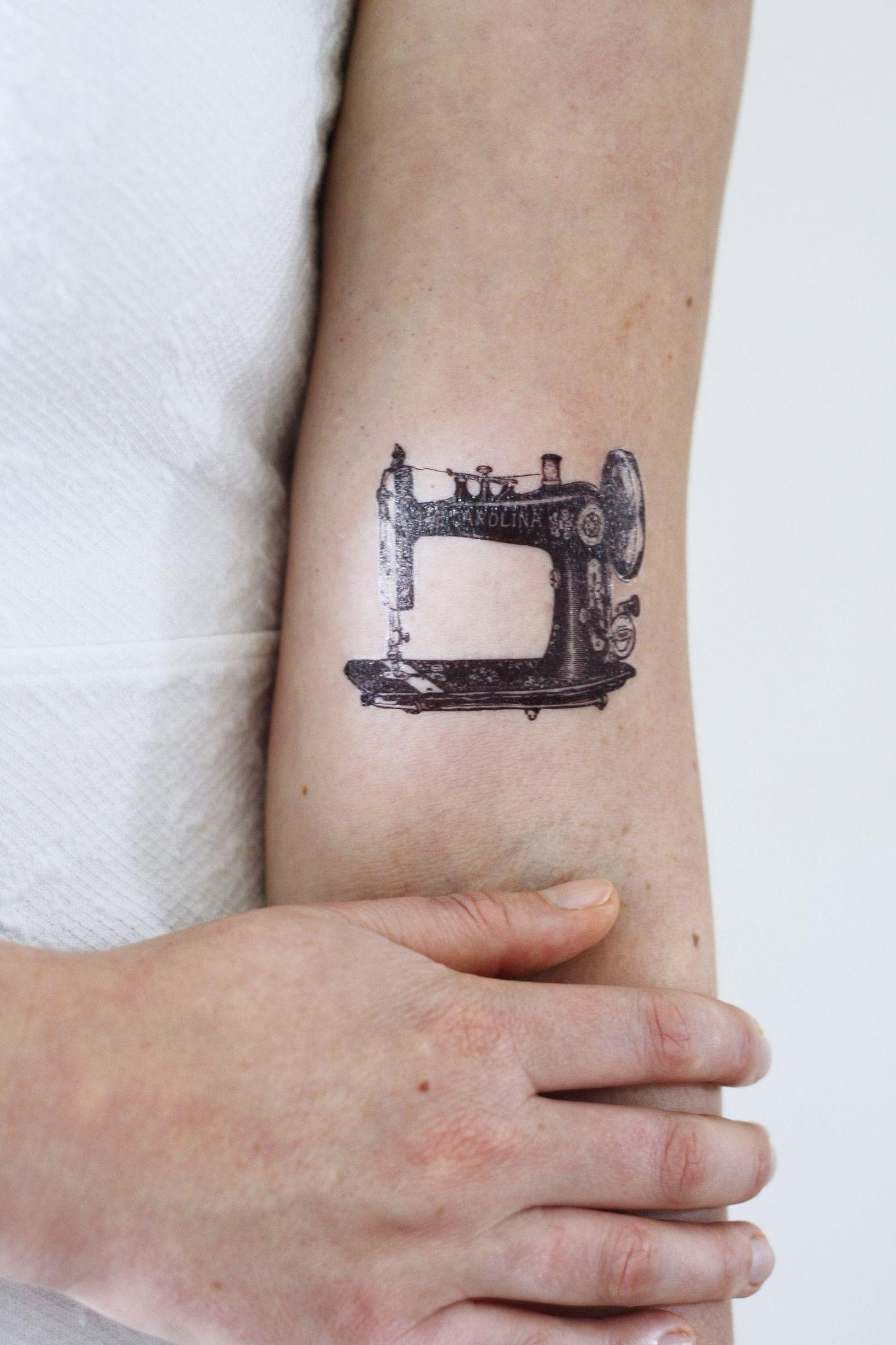 vintage sewing machine temporary tattoo ciseau tatouages et encre. Black Bedroom Furniture Sets. Home Design Ideas