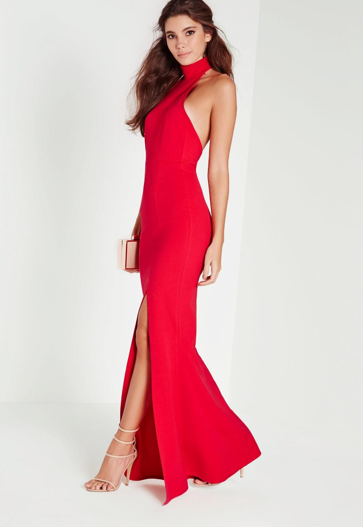 Choker maxi dress red missguided choker and maxi dresses