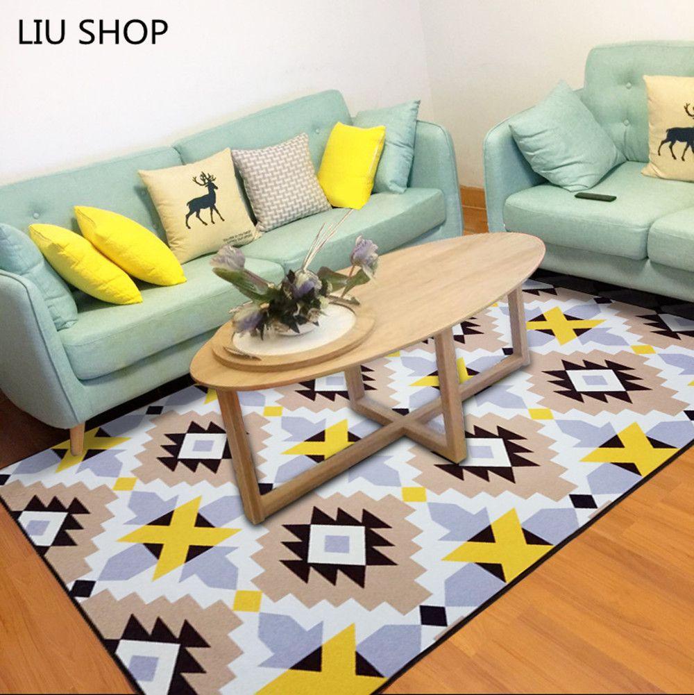 LIU Simple Modern Fashion Nordic Living Room Carpet Bedroom Bed Full Soft Coral Velvet Rug Rectangular