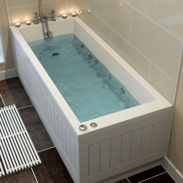 With Ceramica 1600mm Single Ended Square Bath with 8 Jet Whirlpool ...