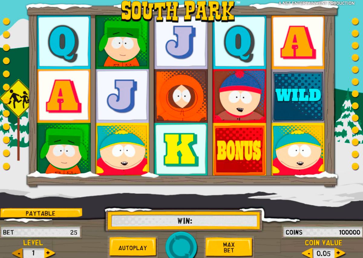 South Park on kolikkopeli, jolla jokainen pelajalla on mahdoliisus voita valtava raaha! Video Kolikkopeli rakentaa: 25 kiinteä Hintalinjaa, 5 erillistä kiekkoa kanssa 3 riviä.  Pelin ominaisuuksia: symboli korvaamalla Kertojan symbolit, Jäädytetty villi kertoja, Ilmaispyöräytyksiä, Bonuspelit ja Mini Ominaisuudet.
