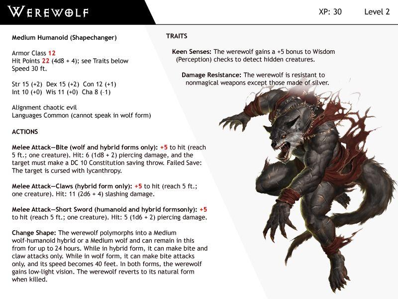 Dnd Next Monster Cards Werewolf By Dizman Deviantart Com On Deviantart Monster Cards Werewolf Dnd Monsters