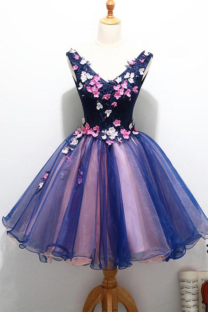 Navy blue tulle V neck short party dress, 3D flower short prom ...