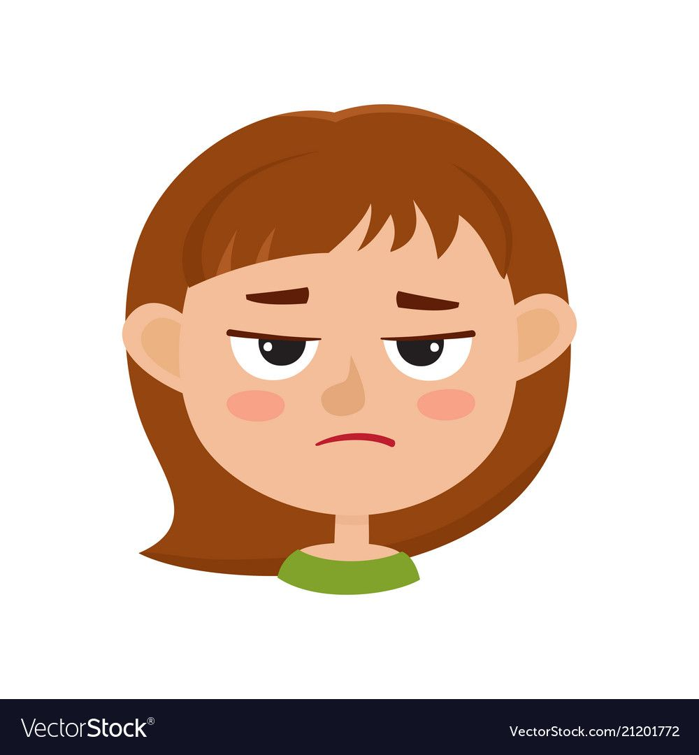 Little Girl Angry Face Expression Cartoon Vector Illustrations Isolated On White Background Kid Emotion Face Icon Cartoons Vector Face Expressions Angry Face