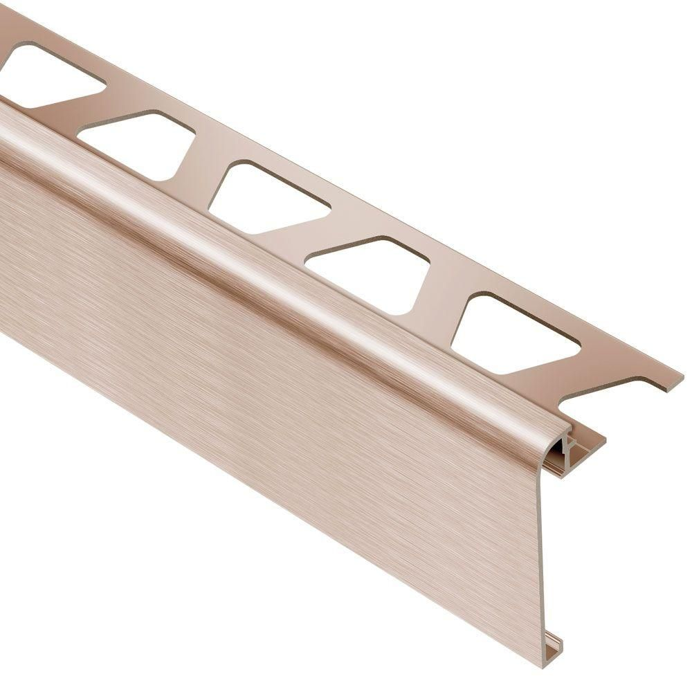 Schluter Rondec Step Brushed Copper Anodized Aluminum 1 2 In X 8 Ft 2 1 2 In Metal Tile Edging Trim Rs125akgb57 Tile Edge Trim Tile Edge Metal Tile