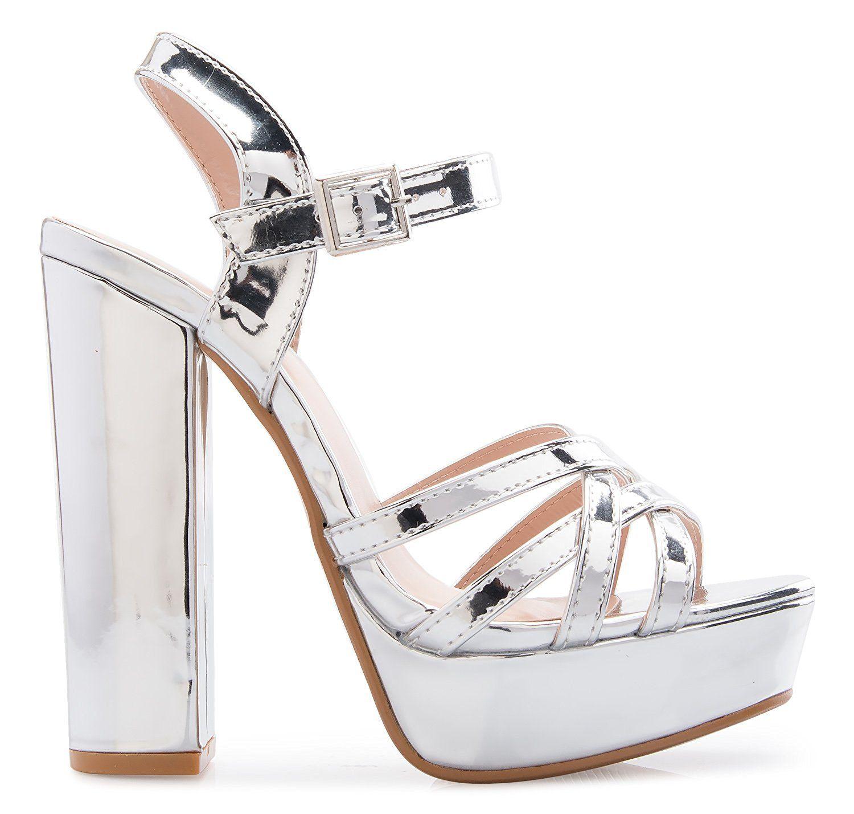 a1baa0c940f OLIVIA K Women s Platform Ankle Strap High Heel - Peep Toe Sandal Pump -  Formal Chunky