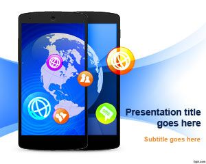 free mobile communication powerpoint template for presentations on