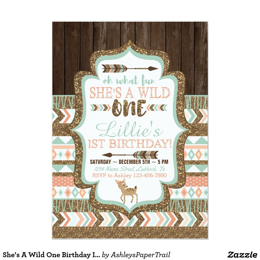 She\'s A Wild One Birthday Invitation by Ashley\'s Paper Trail www ...
