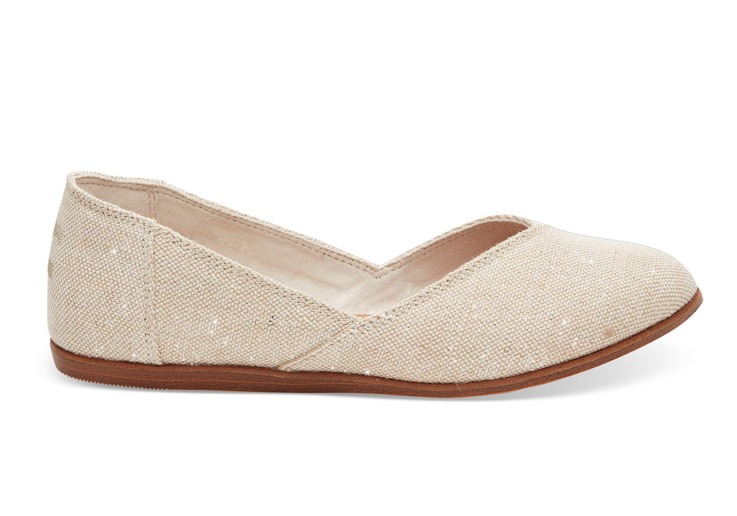 Toms Natural Metallic Burlap Women S Jutti Flats