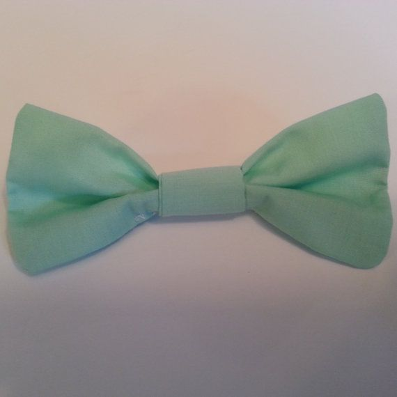 mint green bow tie by LinenandLaceByCallie on Etsy, $9.50
