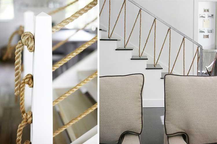 10 formas curiosas de decorar con cuerdas escaleras - Pasamanos de cuerda ...