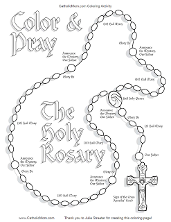 Coloring Page Rosary Art Line Drawings Rosary Teaching