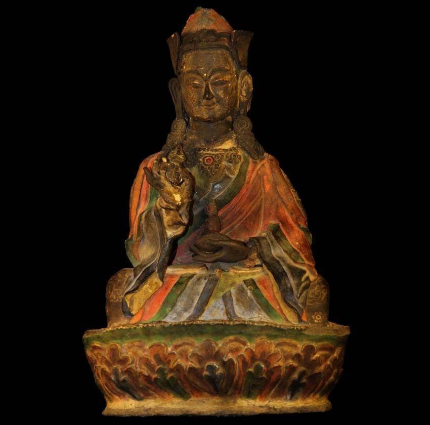 """6/"""" Asian Antique Tibet Hand painting red copper Padmasambhava Buddha statue"""