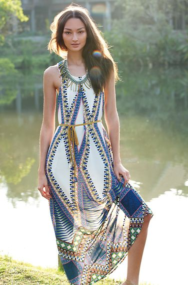 I love this Pakpao Maxi Dress with Viento Fringe Necklace!  Anthropologie March Catalog photo