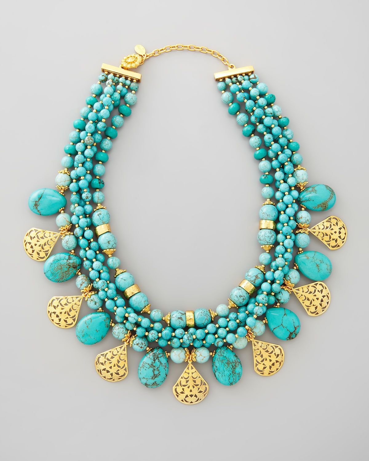 Womens Blue Multistrand Turquoise Gold Plate Necklace Turquoise