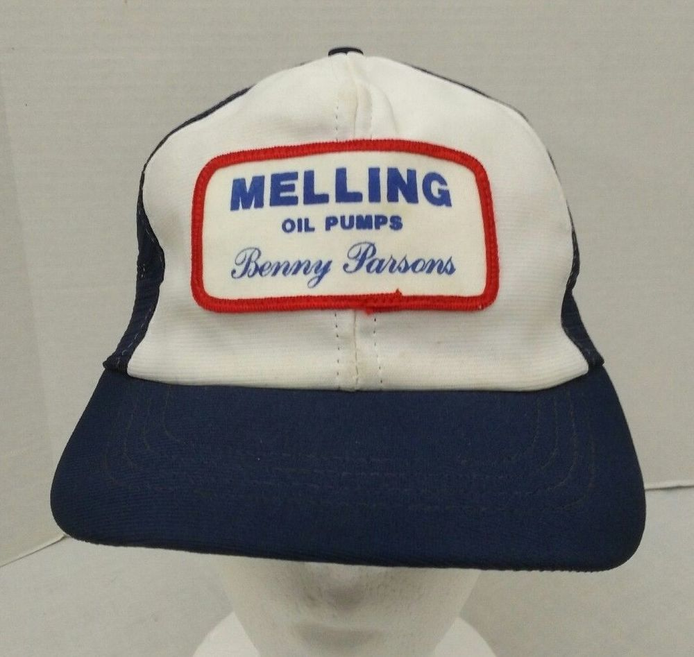 Melling Oil Pumps Hat Benny Parsons White Blue Snapback Mesh