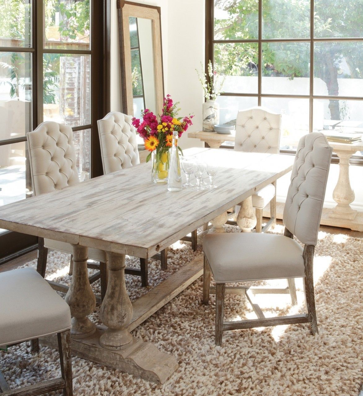Ava Camelback Tufted Linen Dining Chair Distressed Dining Table