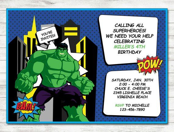 Hulk Invitation Party Printable Birthday