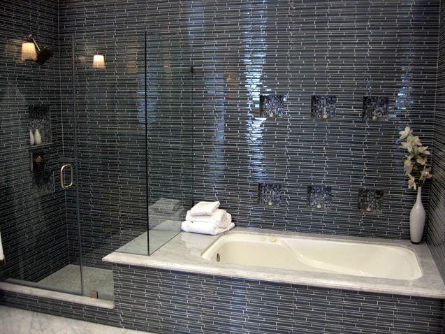 Bathroom Ideas Love The Tile And Bath Tube Next To The Shower
