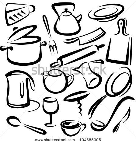 Simple Kitchen Clipart Black And White