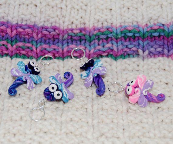 STITCH MARKER KNITTING CROCHET Stitch Counter Progress Marker Dragonfly Handmade