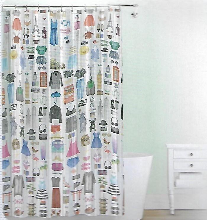 Splash White Peva Shower Curtain Travel Girl Blue Dress Black Hat VW ...