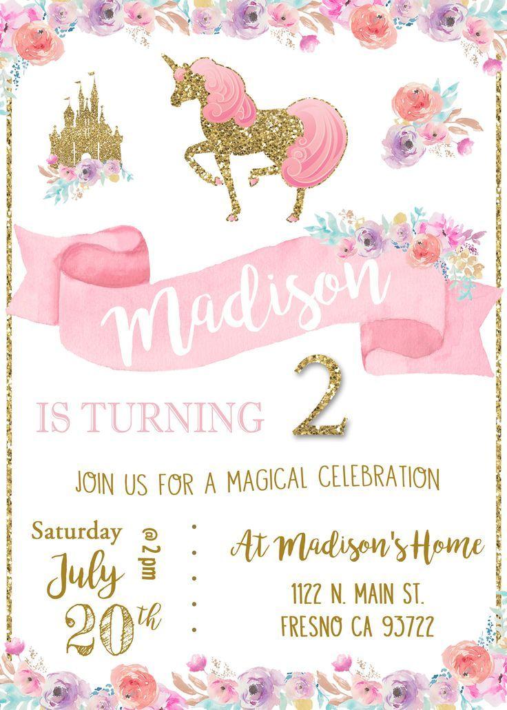 Unicorn birthday party invitation invite magical princess pink and unicorn birthday party invitation invite magical princess pink and gold shabby chic watercolor flowers pony horse stopboris Images
